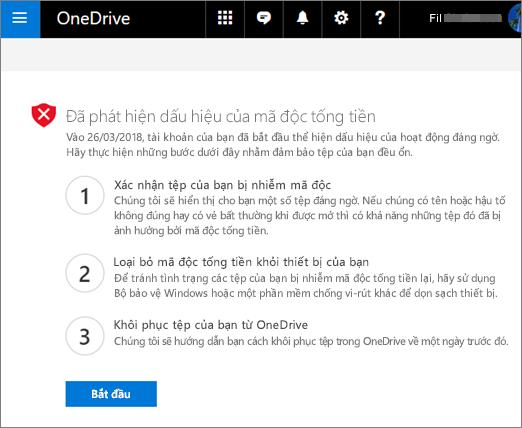 Ảnh chụp màn hình các dấu hiệu của màn hình phát hiện ransomware trên website OneDrive