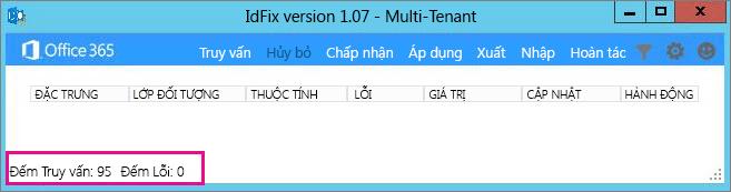 Số lỗi và số truy vấn trong IdFix.