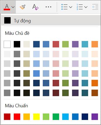 Các tùy chọn Menu màu phông trong OneNote cho web