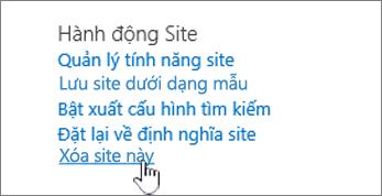 Trang thiết đặt menu với xóa trang web này được tô sáng