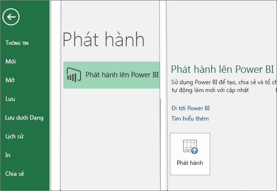 Tab Phát hành trong Excel 2016 hiển thị nút Phát hành lên Power BI