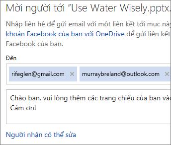 Nhập địa chỉ email và thư để gửi email liên kết