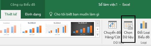 Tùy chọn Chọn Dữ liệu trên tab Thiết kế.