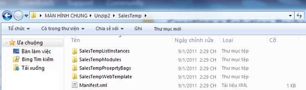 Ảnh chụp màn hình của Windows Explorer hiển thị Gói Giải pháp Web (.wsp) được giải nén.