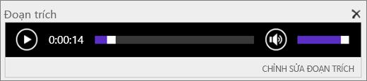 Ảnh chụp màn hình của SharePoint Online với thanh điều khiển âm thanh Snippet cho biết tổng thời lượng của một tệp âm thanh và cung cấp điều khiển để bắt đầu và dừng phát tệp.