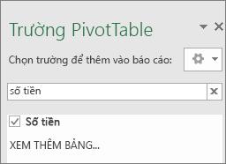Ngăn trường PivotTable hiển thị kết quả của một tìm kiếm