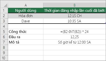 Ví dụ: Chuyển đổi giờ từ định dạng giờ tiêu chuẩn thành số thập phân