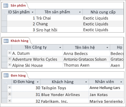Các đoạn của bảng Sản phẩm, Khách hàng và Đơn hàng