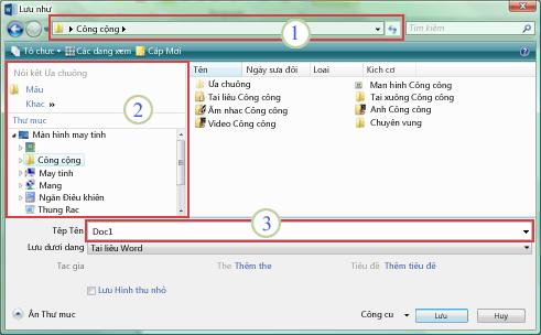 Hộp thoại Lưu dưới Dạng của Windows Vista và Windows 7