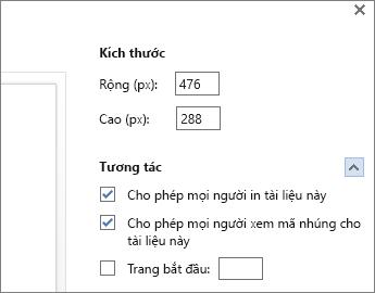 Tùy chọn cho việc nhúng tài liệu Word
