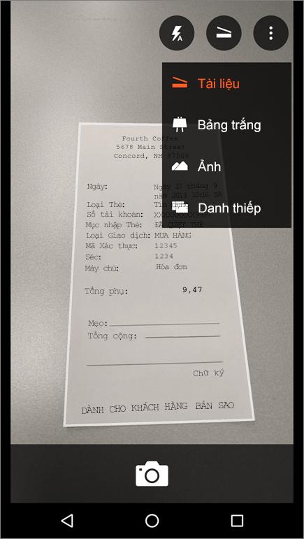 Ảnh chụp màn hình về cách chụp một ảnh trong Office Lens cho Android.