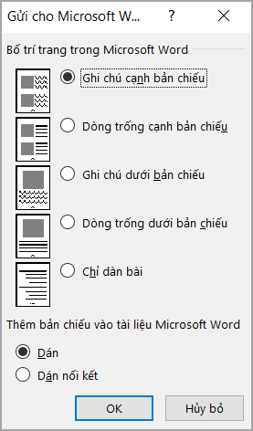 Hộp gửi đến Microsoft Word