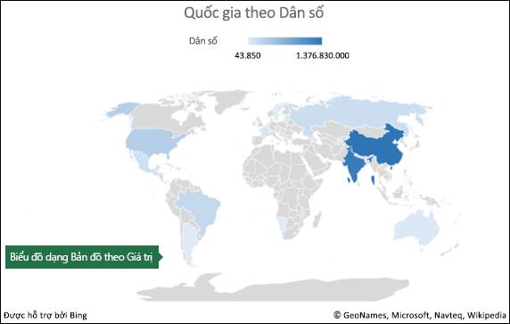 Biểu đồ dạng Bản đồ trong Excel với dữ liệu Giá trị