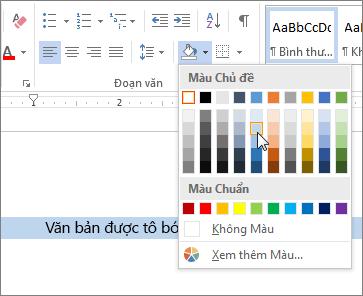 Áp dụng tô màu cho văn bản