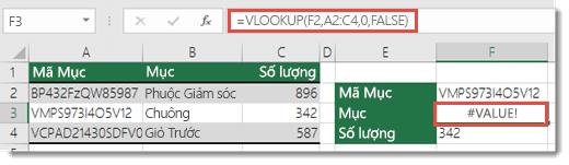 Lỗi #VALUE! hiển thị khi tham_đối_chỉ_mục_cột nhỏ hơn 1