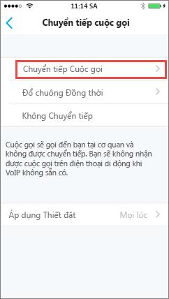 Màn hình Chuyển tiếp cuộc gọi của Skype for Business for iOS