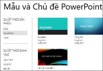 Mẫu và giao diện PowerPoint Online