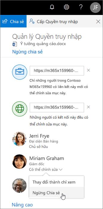 Thay đổi hoặc ngừng chia sẻ trong OneDrive
