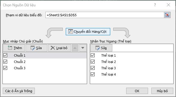 Hiển thị hộp thoại Chọn Dữ liệu trong PowerPoint