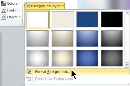 Ở cuối ngoài cùng bên phải của tab Thiết kế, chọn Kiểu nền, rồi chọn Định dạng nền