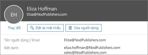 Người dùng này có một địa chỉ chính và hai biệt danh.
