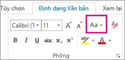 Nút Đổi Chữ hoa/thường trên tab Định dạng Văn bản