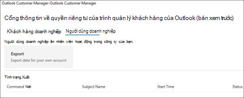 Ảnh chụp màn hình: Xuất Outlook khách hàng trình quản lý dữ liệu nhân viên