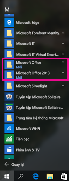 Office 2010 và Office 2013 trong danh sách Tất cả các Chương trình
