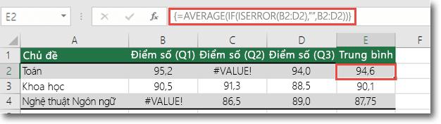Hàm Array trung bình để giải quyết #VALUE! .
