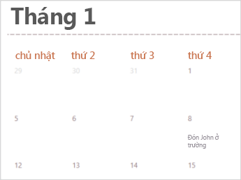 Mẫu lịch trong Excel cho web
