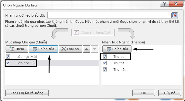 Bạn có thể sửa tên chú giải trong hộp thoại Chọn Nguồn Dữ liệu.