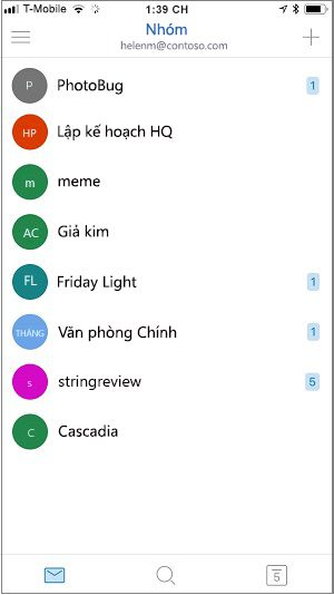 Màn hình Trang chủ của ứng dụng di động của nhóm