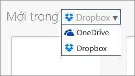 Ảnh cho thấy Dropbox đã được thêm vào những nơi mà bạn có thể tạo tệp mới trong Office Online