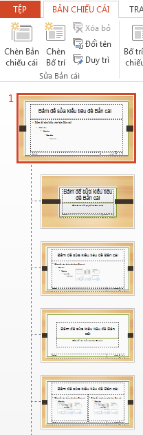 Hình thu nhỏ ở phía trên cùng là trang chiếu cái.