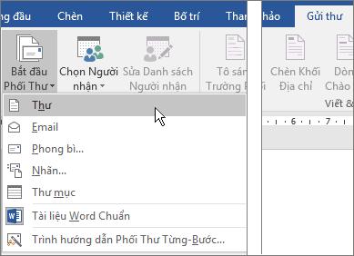 Trong Word, trên tab gửi thư, chọn bắt đầu phối thư, sau đó chọn một tùy chọn.