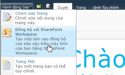 Chọn tùy chọn này để đồng bộ site SharePoint với máy tính của bạn