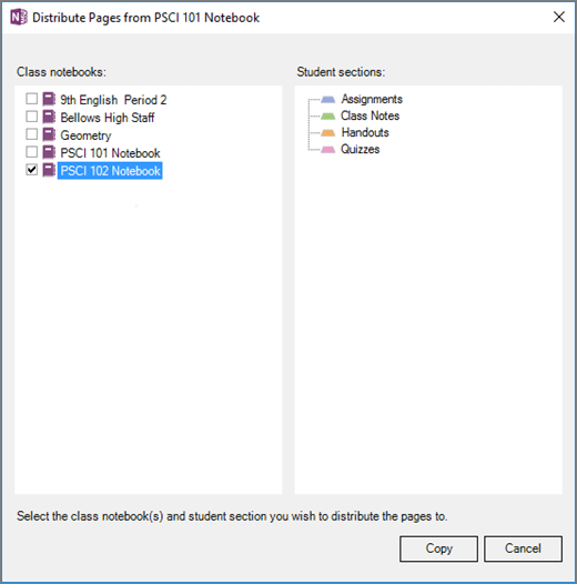 Chéo ngăn sổ ghi chép phân phối trong sổ ghi chép lớp học với một danh sách sổ tay lớp học với hộp kiểm và danh sách đích phần của sổ ghi chép học viên. Nút sao chép hoặc hủy bỏ.