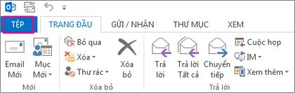 Đây là giao diện của dải băng Outlook trên máy tính.