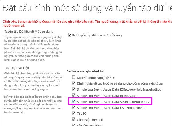Tùy chọn để bật DLP cách dùng Nhật ký