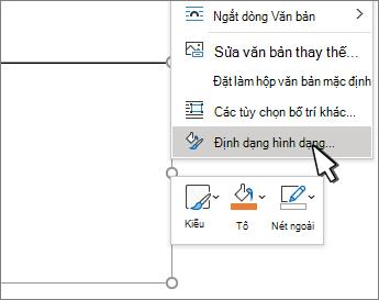 Mục menu định dạng hình dạng được chọn