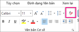 Biểu tượng Xóa tất cả định dạng được tô sáng trên tab Thư