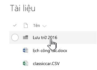 Thư viện tài liệu SharePoint Online với thư mục được tô sáng