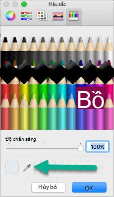 Hộp thoại màu bao gồm công cụ Eyedropper.