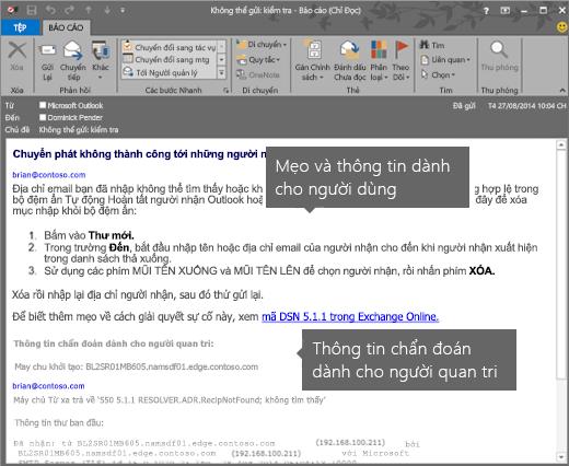 NDR hiển thị Thông tin Chẩn đoán dành cho Người quản trị và Người dùng