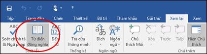 Lệnh Từ điển đồng nghĩa trong công cụ Soát lỗi trên tab Xem lại.