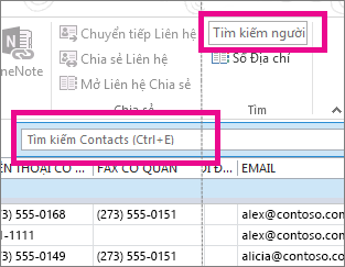 Hộp Tìm kiếm người so với hộp Tìm kiếm liên hệ