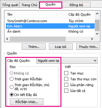 Tab Quyền Chia sẻ Lịch trong Outlook 2013
