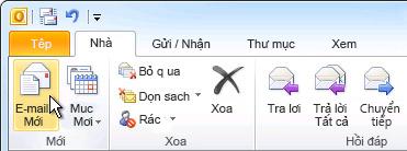 Lệnh Email Mới trên ribbon