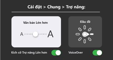Trợ năng chung: Cài đặt văn bản lớn hơn và VoiceOver