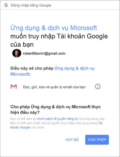 Hiển thị cửa sổ quyền cho Outlook để truy nhập tài khoản gmail của bạn